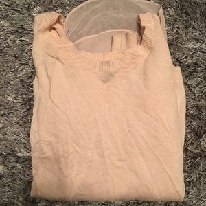 Express Light Pink Tank with Sweater Over-top